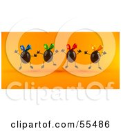 Royalty Free RF Clipart Illustration Of 3d Chocolate Easter Egg Characters Jumping Version 1