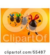 Royalty Free RF Clipart Illustration Of 3d Chocolate Easter Egg Characters Jumping Version 2