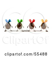 Royalty Free RF Clipart Illustration Of 3d Chocolate Easter Egg Characters Facing Front Version 1
