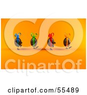 Royalty Free RF Clipart Illustration Of 3d Chocolate Easter Egg Characters Walking Right Version 2