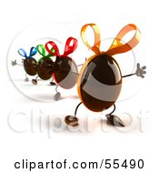 Royalty Free RF Clipart Illustration Of 3d Chocolate Easter Egg Characters Marching Forward Version 3