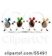 Royalty Free RF Clipart Illustration Of 3d Chocolate Easter Egg Characters Jumping Version 3