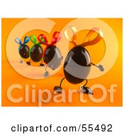 Royalty Free RF Clipart Illustration Of 3d Chocolate Easter Egg Characters Marching Forward Version 1