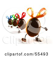 Royalty Free RF Clipart Illustration Of 3d Chocolate Easter Egg Characters Marching Forward Version 2