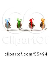 Royalty Free RF Clipart Illustration Of 3d Chocolate Easter Egg Characters Walking Right Version 1