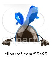 Royalty Free RF Clipart Illustration Of A 3d Chocolate Easter Egg Character Standing Behind A Blank Sign