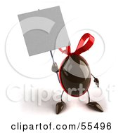 Royalty Free RF Clipart Illustration Of A 3d Chocolate Easter Egg Character Holding Up A Blank Sign