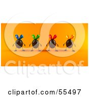 Royalty Free RF Clipart Illustration Of 3d Chocolate Easter Egg Characters Facing Front Version 2