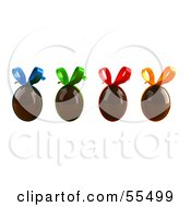 Royalty Free RF Clipart Illustration Of A Row Of 3d Floating Chocolate Easter Eggs With Colorful Bows Version 1