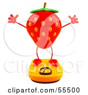 3d Strawberry Character Standing On A Scale - Version 3