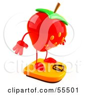 3d Strawberry Character Standing On A Scale Version 2 by Julos