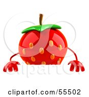 3d Strawberry Character Standing Behind A Blank Sign by Julos