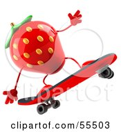 3d Strawberry Character Skateboarding Version 2 by Julos
