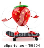 Royalty Free RF Clipart Illustration Of A 3d Strawberry Character Skateboarding Version 1