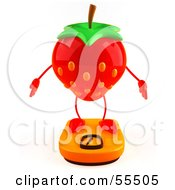 D Strawberry Character Standing On A Scale Version 1 by Julos
