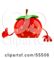 3d Strawberry Character Giving The Thumbs Up And Standing Behind A Blank Sign by Julos