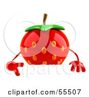 Royalty Free RF Clipart Illustration Of A 3d Strawberry Character Pointing Down And Standing Behind A Blank Sign