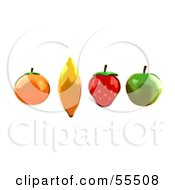 Orange Banana Strawberry And Green Apple In A Line by Julos