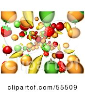 Royalty Free RF Clipart Illustration Of A Background Of Ed Fruits Raining Down Version 2