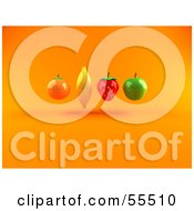Royalty Free RF Clipart Illustration Of Floating 3d Orange Banana Strawberry And Green Apple Fruits Version 1