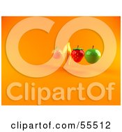 Royalty Free RF Clipart Illustration Of Floating 3d Orange Banana Strawberry And Green Apple Fruits Version 2