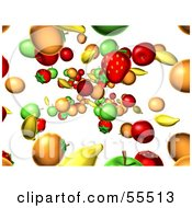 Background Of Ed Fruits Raining Down Version 1 by Julos