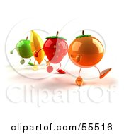 Royalty Free RF Clipart Illustration Of 3d Green Apple Banana Strawberry And Orange Characters Marching Forward Version 1