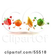 Royalty Free RF Clipart Illustration Of A Line Of 3d Orange Banana Green Apple And Strawberry Characters Jumping by Julos