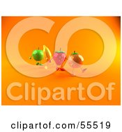 Royalty Free RF Clipart Illustration Of 3d Green Apple Banana Strawberry And Orange Characters Marching Forward Version 2
