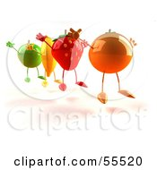 3d Green Apple Banana Strawberry And Orange Characters Jumping In A Line Version 2 by Julos