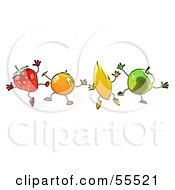 Royalty Free RF Clipart Illustration Of A Line Of Orange Banana Green Apple And Strawberry Characters Jumping by Julos