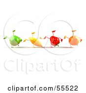 Line Of 3d Green Apple Banana Strawberry And Orange Characters Doing Hand Stands Version 1 by Julos