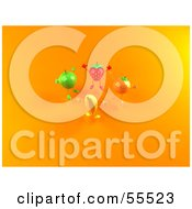 Royalty Free RF Clipart Illustration Of A 3d Green Apple Banana Strawberry And Orange Characters Jumping In A Circle Version 2