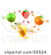 Royalty Free RF Clipart Illustration Of 3d Green Apple Banana Strawberry And Orange Characters Jumping In A Circle Version 1
