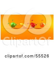 Royalty Free RF Clipart Illustration Of A Line Of 3d Green Apple Banana Strawberry And Orange Characters Doing Hand Stands Version 2