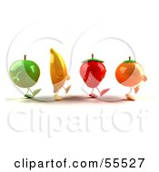 Royalty Free RF Clipart Illustration Of 3d Green Apple Banana Strawberry And Orange Characters Marching Right Version 1