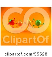 Royalty Free RF Clipart Illustration Of A Line Of 3d Green Apple Banana Strawberry And Orange Characters Leaping by Julos