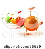 3d Green Apple Banana Strawberry And Orange Characters Doing Cartwheels In A Line Version 1 by Julos