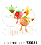 3d Green Apple Banana Strawberry And Orange Characters Jumping In A Line Version 1 by Julos
