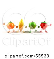 Line Of 3d Orange Banana Green Apple And Strawberry Characters Holding Hands by Julos