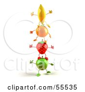Royalty Free RF Clipart Illustration Of 3d Green Apple Banana Strawberry And Orange Characters Standing On Top Of Each Other Version 2
