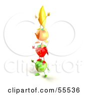 Royalty Free RF Clipart Illustration Of 3d Green Apple Banana Strawberry And Orange Characters Standing On Top Of Each Other Version 1