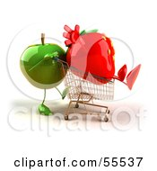 3d Green Apple Character Pushing A Strawberry In A Shopping Cart Version 2 by Julos