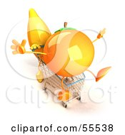 Royalty Free RF Clipart Illustration Of A 3d Banana Character Pushing An Orange In A Shopping Cart Version 4 by Julos