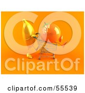 Royalty Free RF Clipart Illustration Of A 3d Banana Character Pushing An Orange In A Shopping Cart Version 2 by Julos