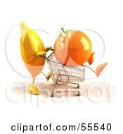 Royalty Free RF Clipart Illustration Of A 3d Banana Character Pushing An Orange In A Shopping Cart Version 3 by Julos