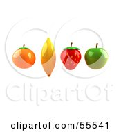 Royalty Free RF Clipart Illustration Of Floating 3d Orange Banana Strawberry And Green Apple Fruits Version 3