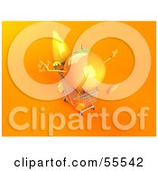 Royalty Free RF Clipart Illustration Of A 3d Banana Character Pushing An Orange In A Shopping Cart Version 1 by Julos