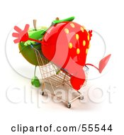 Royalty Free RF Clipart Illustration Of A 3d Green Apple Character Pushing A Strawberry In A Shopping Cart Version 1