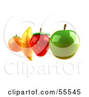Royalty Free RF Clipart Illustration Of Floating 3d Orange Banana Strawberry And Green Apple Fruits Version 4